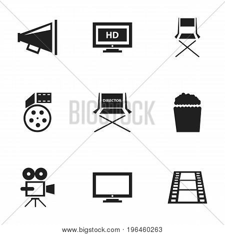 Set Of 9 Editable Cinema Icons. Includes Symbols Such As Record Cam, Reel, Hd Screen And More