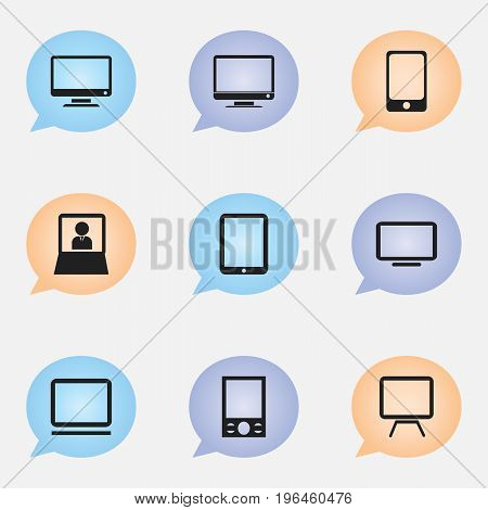 Set Of 9 Editable Devices Icons. Includes Symbols Such As Television, Smartphone, Computer And More