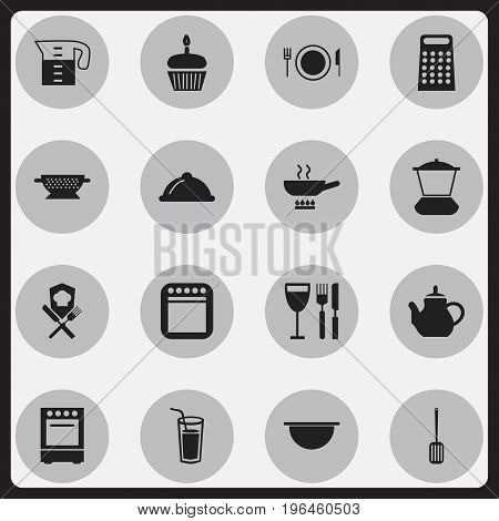 Set Of 16 Editable Kitchen Icons. Includes Symbols Such As Oven, Stewpot, Cooker And More