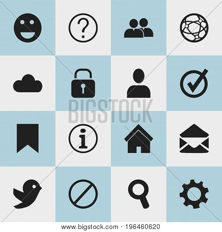 Set Of 16 Editable Web Icons. Includes Symbols Such As Tag, Network, Approved And More