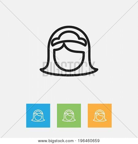 Vector Illustration Of Cleaning Symbol On Housewife Outline