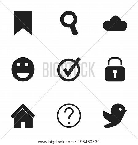 Set Of 9 Editable Web Icons. Includes Symbols Such As Sky, Dove, Security And More