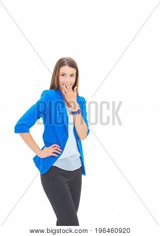 Portrait of young business woman pointing something.