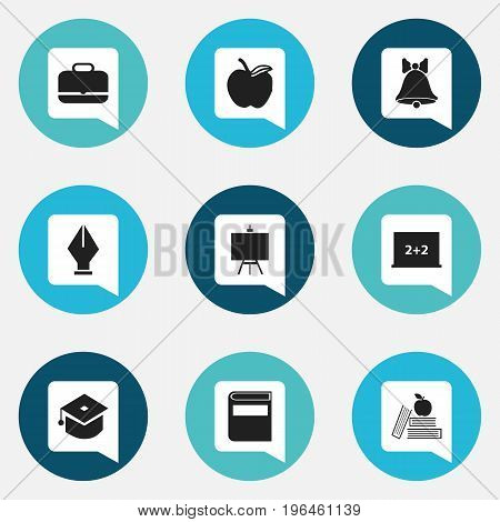 Set Of 9 Editable Education Icons. Includes Symbols Such As Literature, Portfolio, Apple And More