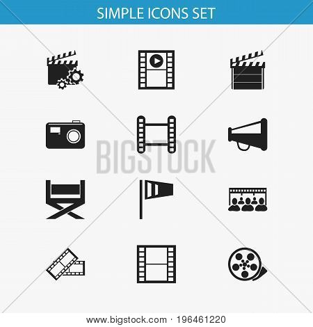 Set Of 12 Editable Filming Icons. Includes Symbols Such As Tape, Movie Strip, Clapperboard And More