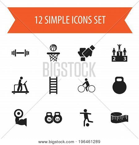 Set Of 12 Editable Active Icons. Includes Symbols Such As Cloth Ruler, Stairway, Bicycle Rider And More
