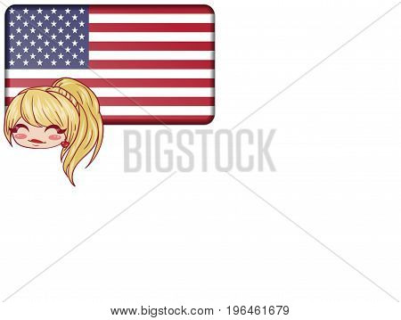 Illustration of the United States. USA concept. Cartoon. Blonde girl. White background
