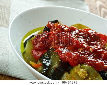 Mediterranean Roast Veggies Briam.Cypriot cuisine. close up meal
