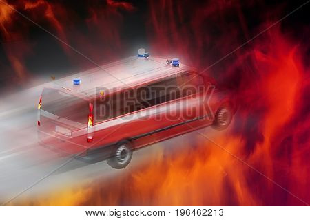 Abstract image of a fast-moving fire, a fire engine