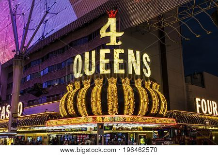 Las Vegas - Circa July 2017: The Four Queens Hotel and Casino. The Four Queens is one of the most iconic fixtures on the Fremont Street Experience I