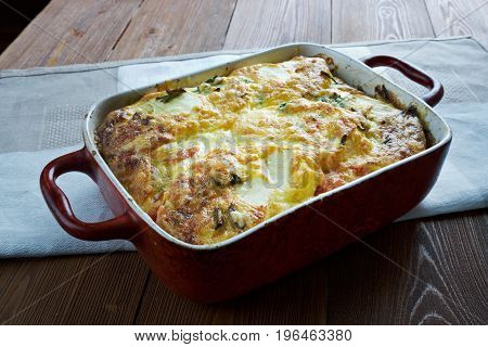 Moussaka with zucchini.Greek cuisine. close up meal