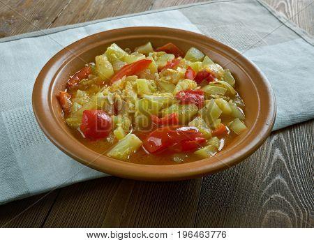 Mixed vegetable kurma.Indian Dish. close up meal