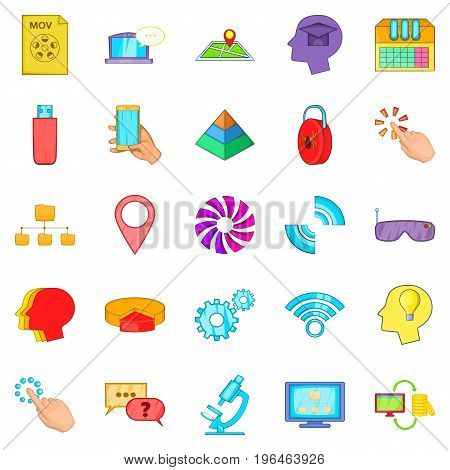 Mobile internet icons set. Cartoon set of 25 mobile internet vector icons for web isolated on white background