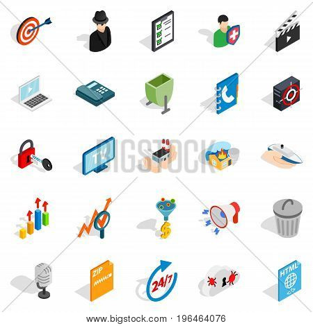 TV icons set. Isometric set of 25 TV vector icons for web isolated on white background