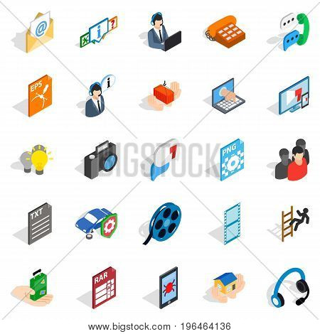 Technical support icons set. Isometric set of 25 technical support vector icons for web isolated on white background