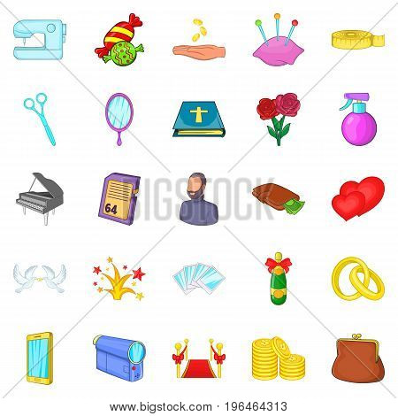 Celebration icons set. Cartoon set of 25 celebration vector icons for web isolated on white background