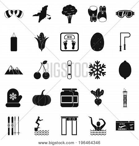 Swimming icons set. Simple set of 25 swimming vector icons for web isolated on white background