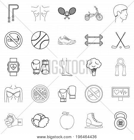 Workout icons set. Outline set of 25 workout vector icons for web isolated on white background