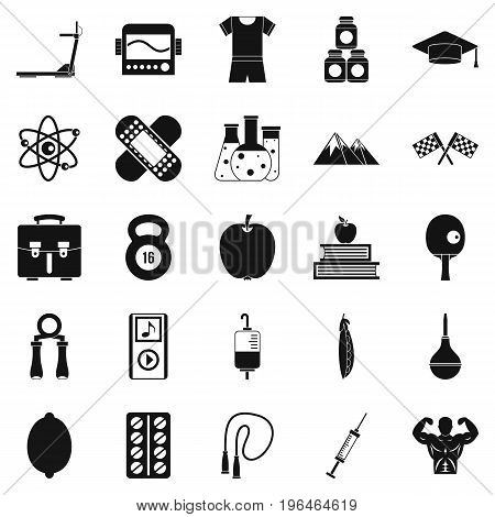 Well person icons set. Simple set of 25 well person vector icons for web isolated on white background