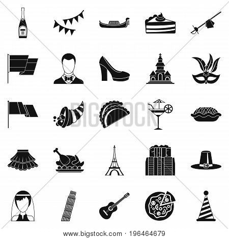 Wine icons set. Simple set of 25 wine vector icons for web isolated on white background