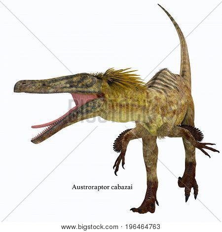 Austroraptor Dinosaur on White with Font 3d illustration - Austroraptor was a carnivorous theropod dinosaur that lived in Argentina in the Cretaceous Period. poster