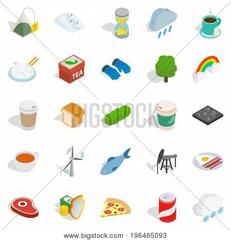 Spring icons set. Isometric set of 25 spring vector icons for web isolated on white background