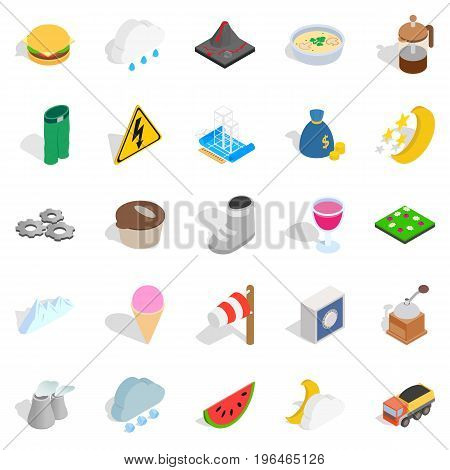 Electricity icons set. Isometric set of 25 electricity vector icons for web isolated on white background
