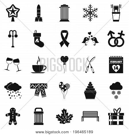 Holiday icons set. Simple set of 25 holiday vector icons for web isolated on white background