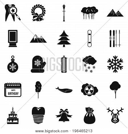 Cold weather icons set. Simple set of 25 cold weather vector icons for web isolated on white background