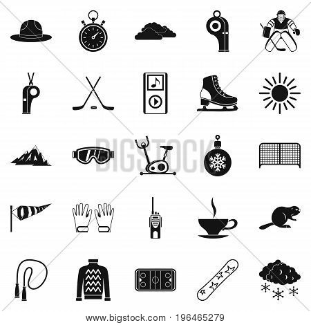 Hockey icons set. Simple set of 25 hockey vector icons for web isolated on white background