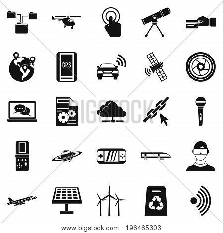 Wireless technology icons set. Simple set of 25 wireless technology vector icons for web isolated on white background