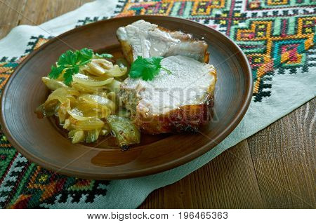 Pork loin in mustard honey sauce with honey sauce - pechenya. Carpathian cuisine