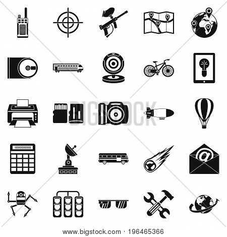 Hi-tech icons set. Simple set of 25 hi-tech vector icons for web isolated on white background