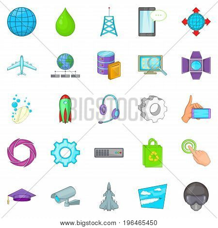 Technology icons set. Cartoon set of 25 technology vector icons for web isolated on white background