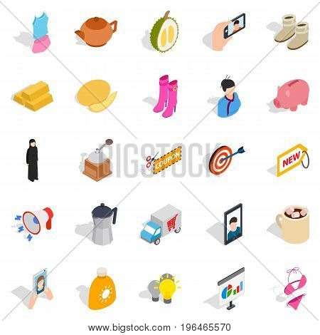 Trade icons set. Isometric set of 25 trade vector icons for web isolated on white background