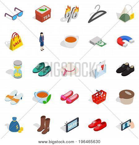 Market icons set. Isometric set of 25 market vector icons for web isolated on white background