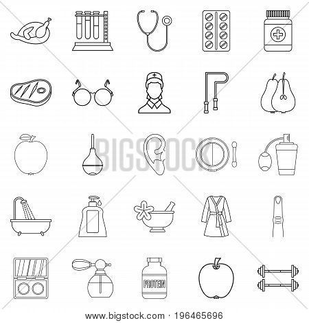 Fitness icons set. Outline set of 25 fitness vector icons for web isolated on white background