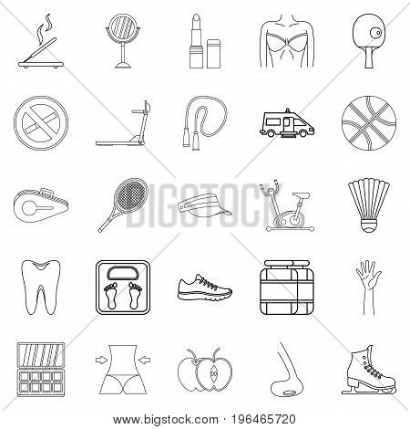 Women Health icons set. Outline set of 25 women health vector icons for web isolated on white background