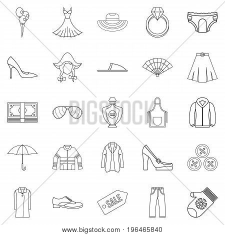 Evening dress icons set. Outline set of 25 evening dress vector icons for web isolated on white background