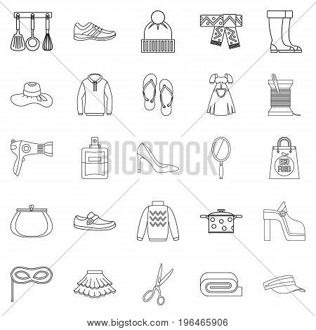 Walking to clothes icons set. Outline set of 25 walking to clothes vector icons for web isolated on white background