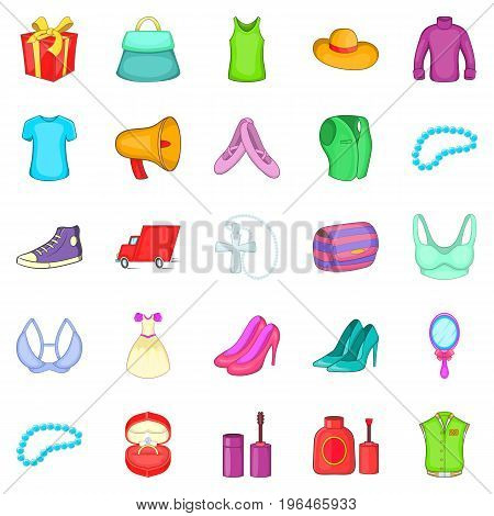 Clothing icons set. Cartoon set of 25 clothing vector icons for web isolated on white background