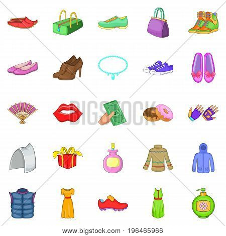 Buying shoes icons set. Cartoon set of 25 buying shoes vector icons for web isolated on white background