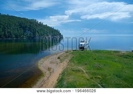 Ship. Lake Baikal. circum-baikal railroad. russian summer,