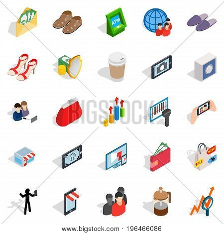 Shopping icons set. Isometric set of 25 shopping vector icons for web isolated on white background