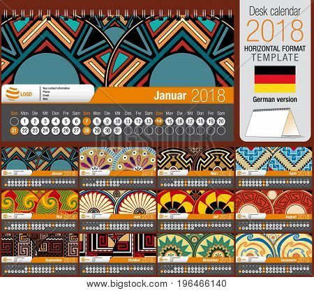 Desk triangle calendar 2018 template with native rosettes design. Size: 22 cm x 12 cm. Format horizontal. Vector image. German version