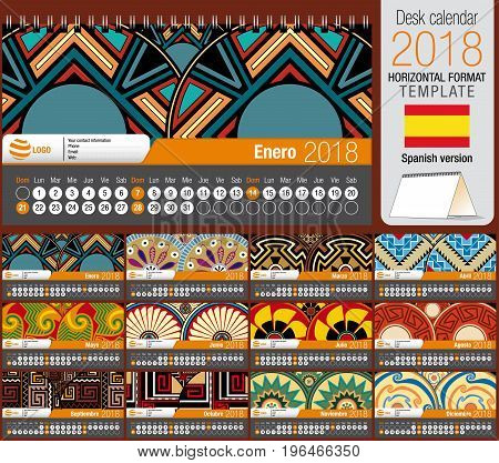 Desk triangle calendar 2018 template with native rosettes design. Size: 22 cm x 12 cm. Format horizontal. Vector image. Spanish version
