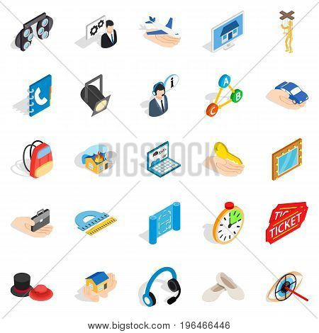 Film business icons set. Isometric set of 25 film business vector icons for web isolated on white background