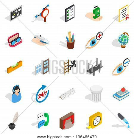 Business trip icons set. Isometric set of 25 business trip vector icons for web isolated on white background