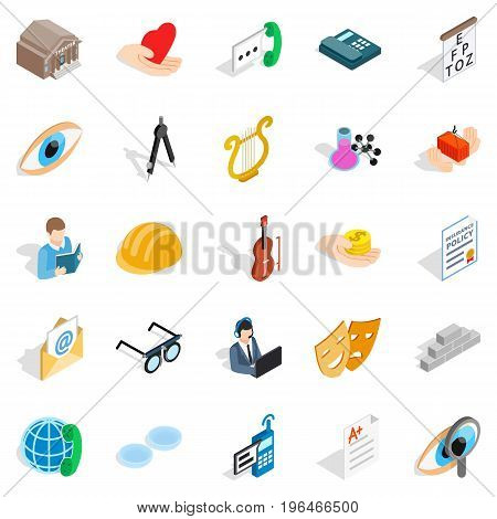 Theater icons set. Isometric set of 25 theater vector icons for web isolated on white background