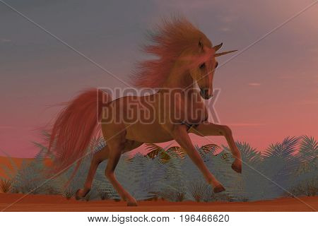Sunset Arabian Unicorn 3d illustration - A Unicorn is a creature of myth and fantasy and has cloven hooves forehead horn and the body of a horse.